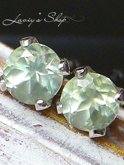画像1: Silver925/淡緑プレナイトのスタッドピアス