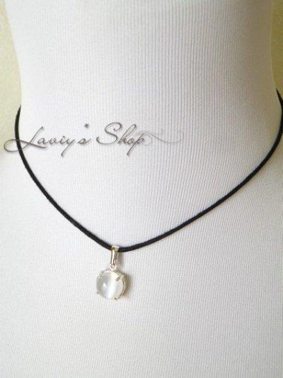 画像3: Silver925/ホワイトキャッツアイムーンストーンの1粒ネックレス