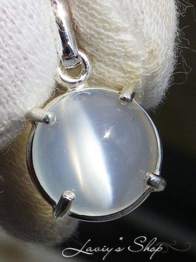 画像1: Silver925/ホワイトキャッツアイムーンストーンの1粒ネックレス