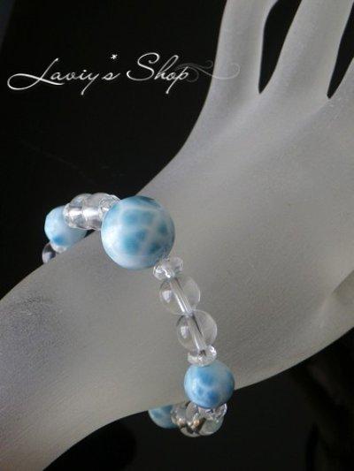 画像3: 大珠高品質ラリマールと水晶のスピリチュアルブレスレット
