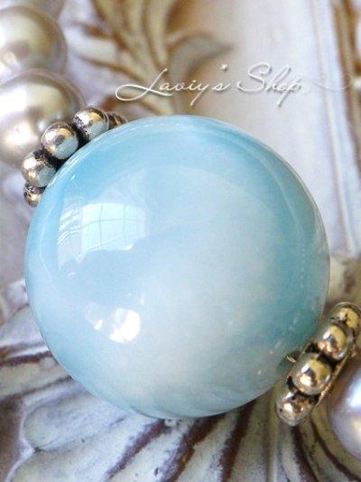 画像2: 大珠高品質ラリマールと淡水パールの贅沢ネックレス