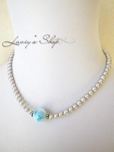 画像3: 大珠高品質ラリマールと淡水パールの贅沢ネックレス