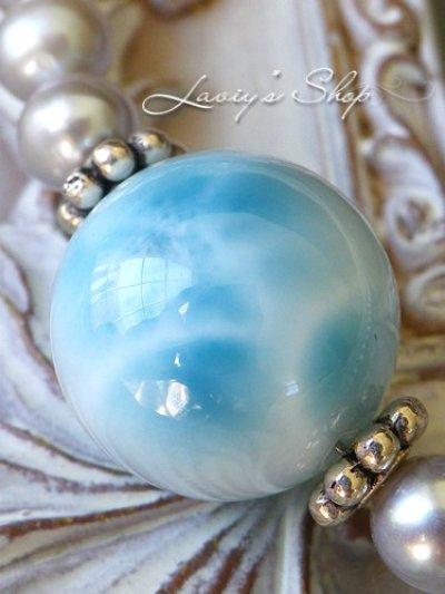 画像1: 大珠高品質ラリマールと淡水パールの贅沢ネックレス