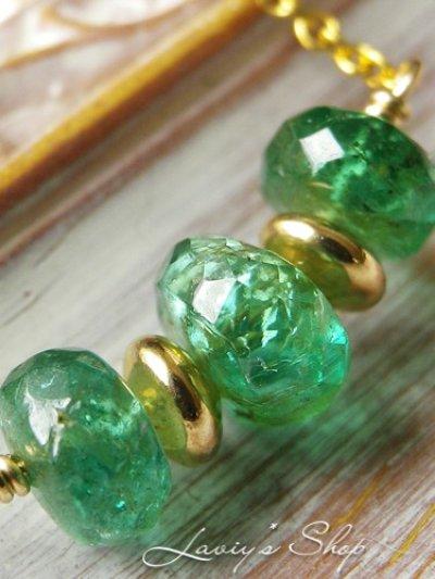 画像1: 計2ct.up!コロンビア産エメラルドの宝石ビーズネックレス