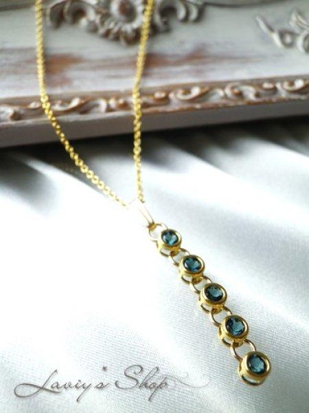 画像1: 宝石インディコライトのベゼルデザインネックレス(I) (1)