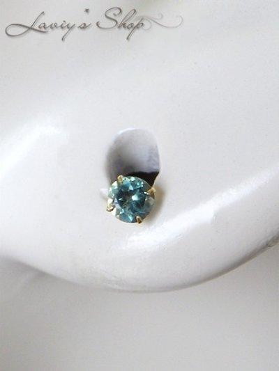 画像3: K18/インド産宝石アレキサンドライトのスタッドピアス(片耳)