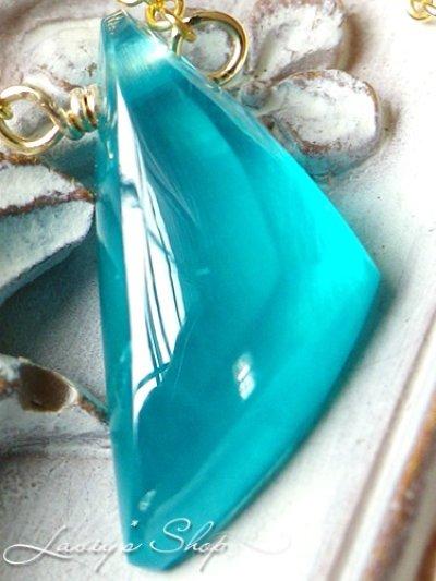 画像2: ファンシーシェイプシーブルースミソナイトの1粒ネックレス