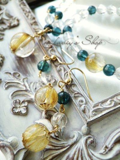 画像3: 大珠ゴールデンルチルとインディコライトのデザインネックレス