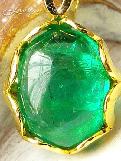 画像2: コロンビア産宝石エメラルドカボションの1粒ネックレス