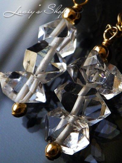 画像2: 高品質ハーキマーダイヤモンドポインタービーズのデザインピアス
