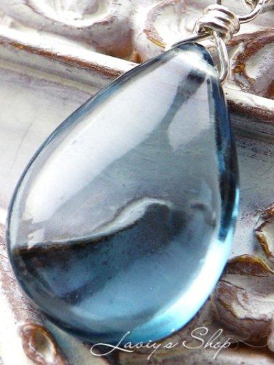 画像1: Silver925/大粒ロンドンブルートパーズの1粒ネックレス