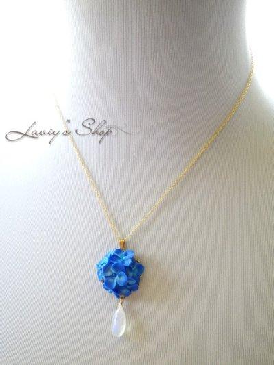画像3: 紫陽花の雨粒ネックレス(ブルームーン)