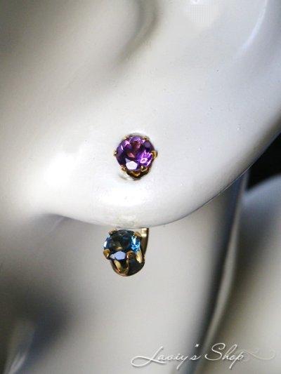 画像3: 宝石ロンドンブルーブルートパーズとアメジストの2wayスタッドピアス