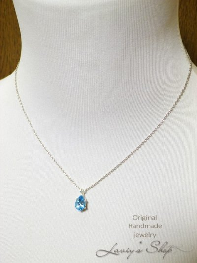 画像3: 宝石ペアシェイプカットスイスブルートパーズの1粒ネックレス